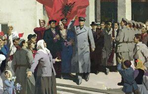Enver Hoxha, kommunistischer Staatsführer während 40 Jahren (Gemälde in der Kunstgalerie Tirana)