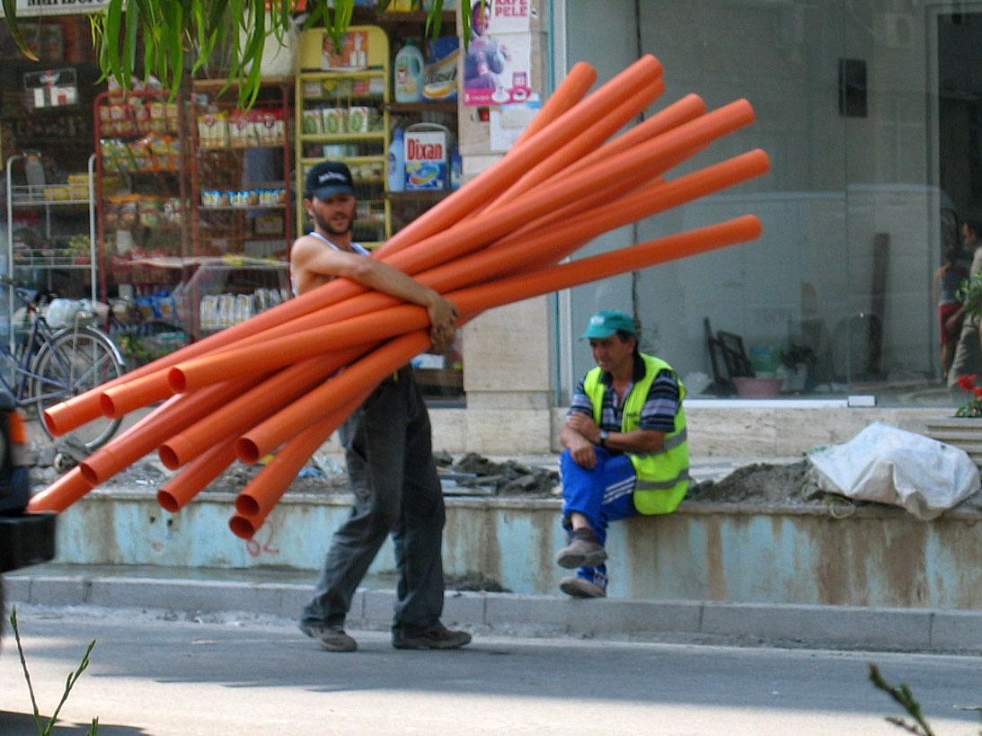 Arbeiter in Tirana