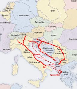 Mögliche Anfahrtswege nach Albanien