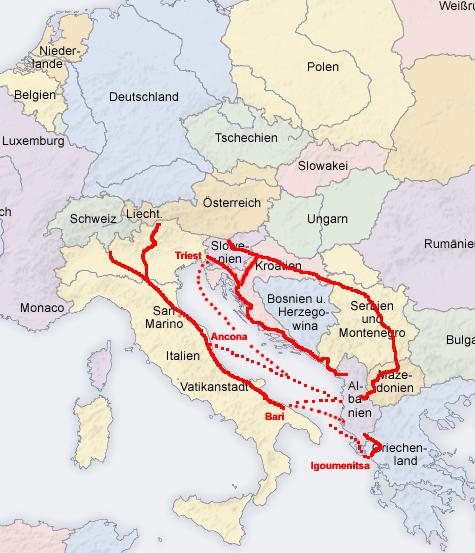 Anreiserouten Albanien