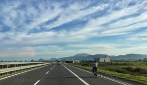 Autobahn Fahrradfahrer