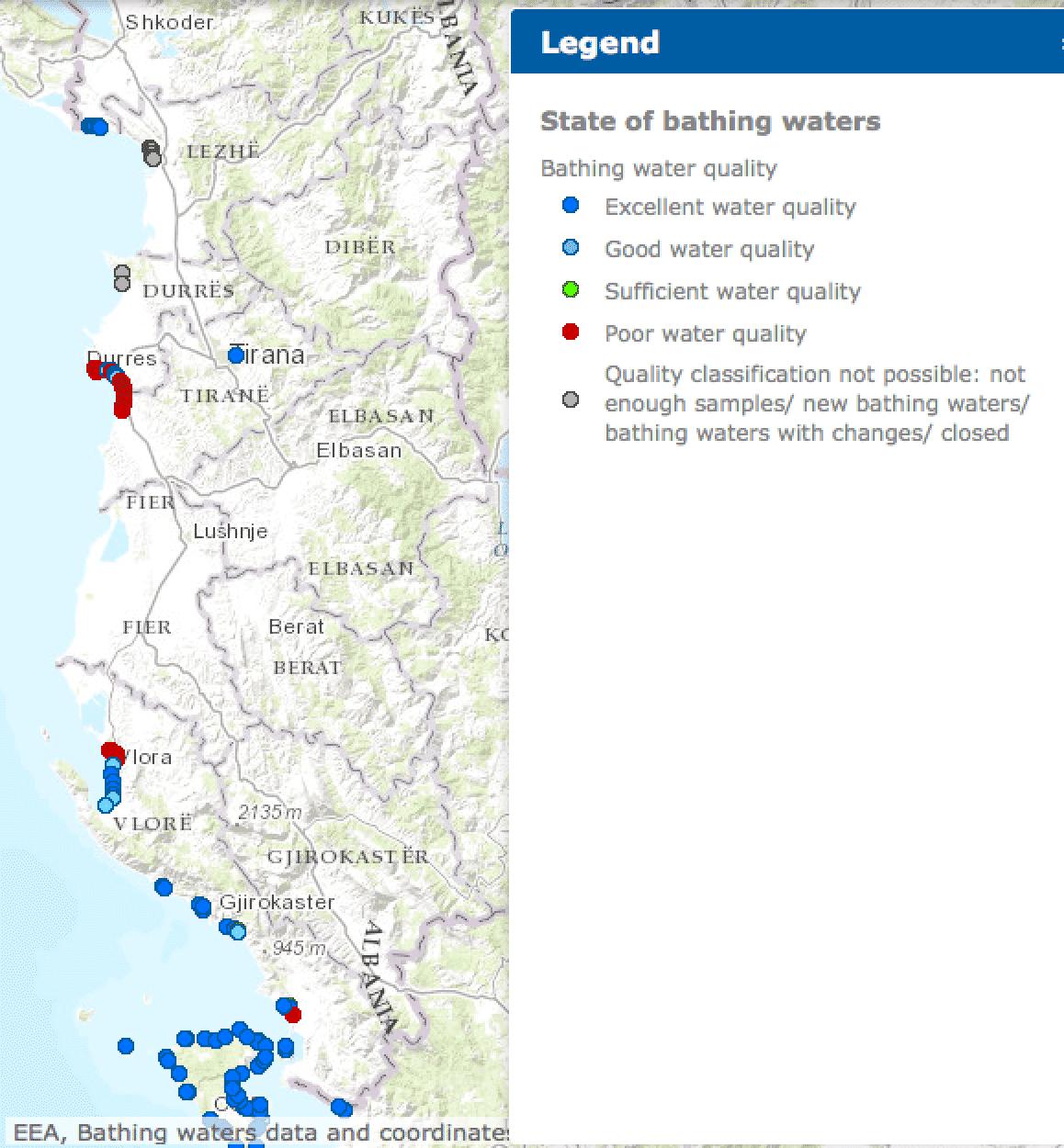 Qualität der europäischen Badegewässer 2015: Albanien